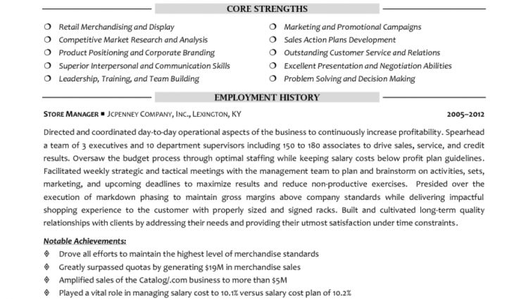 retail sales manager resume samples qualifications profile ...