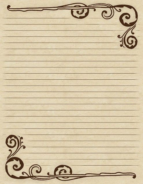 Lined paper with a Victorian-inspired ~ brown ~ swirl border ...