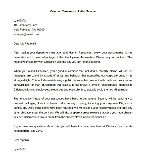 9+ Termination Letter Templates – Free Sample Example Format ...