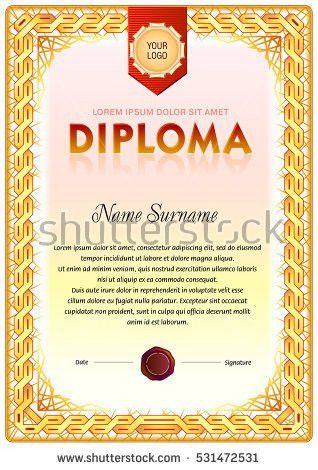 Certificate Diploma Completion Design Template Sample Stock Vector ...
