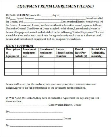 Sample Equipment Lease Agreement   9+ Examples In Word, PDF