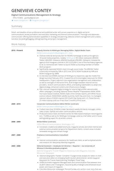 Deputy Director Resume samples - VisualCV resume samples database