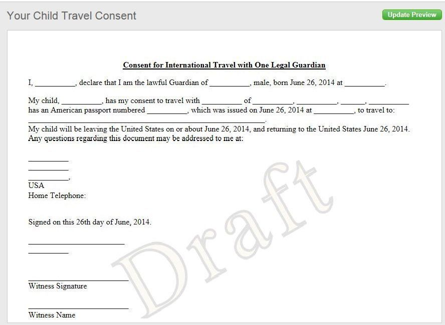 Notarized Letter of Consent When Traveling with a Minor ...