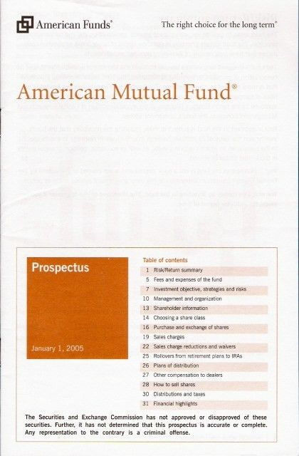 The Mutual Fund Prospectus: Summary and Statutory Prospectus