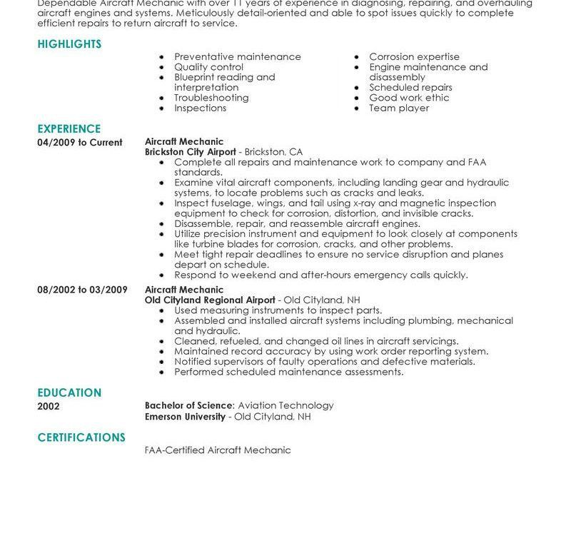 Sweet Ideas Maintenance Mechanic Resume 10 Best Aircraft Mechanic ...