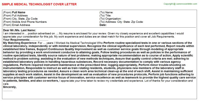 cover letter medical laboratory technician. food manager sample ...