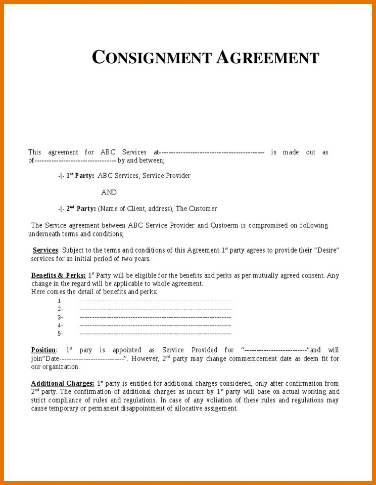 7+ consignment agreement template | Itinerary Template Sample
