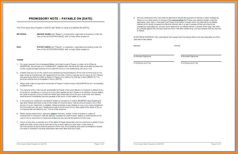 7+ free promissory note template word   memo templates