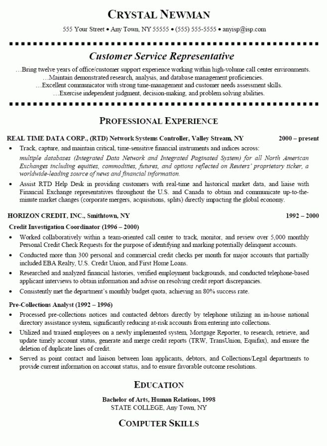 6 Call Center Customer Service Representative Resume Resume call ...