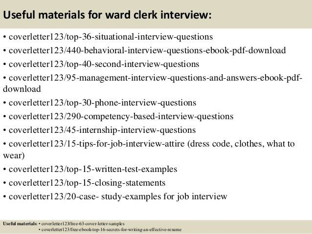 Ward Clerk Cover Letter