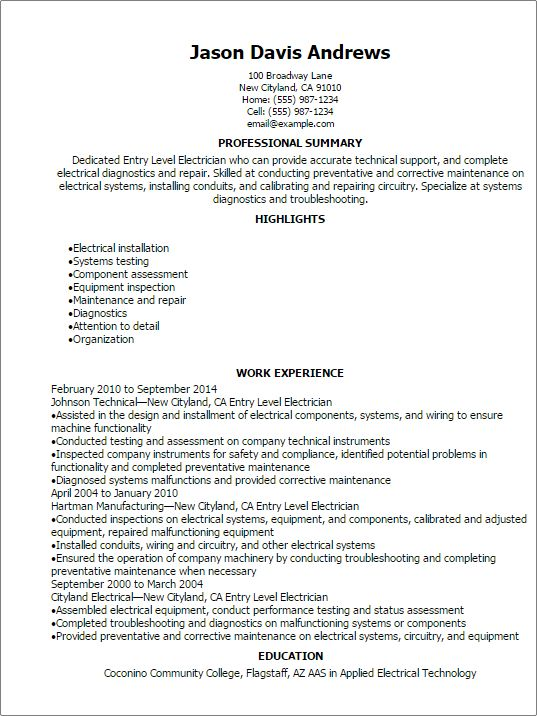 Professional Entry Level Electrician Resume Templates to Showcase ...