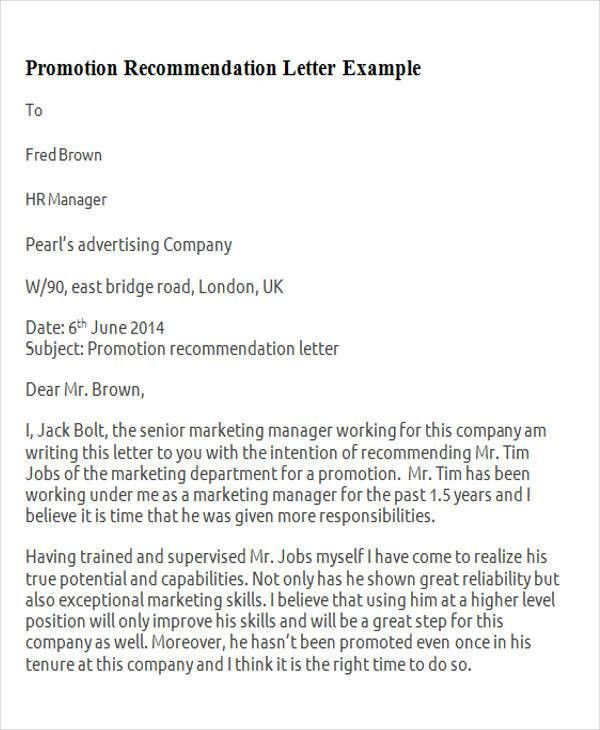 7+ Sample Promotion Recommendation Letter - Free Sample, Example ...