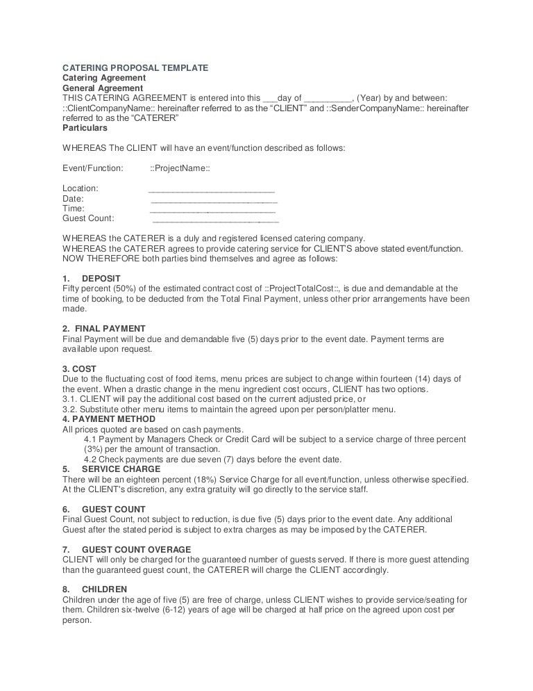 Catering Proposal Template. 3 19 2 Catering Proposal Template ...