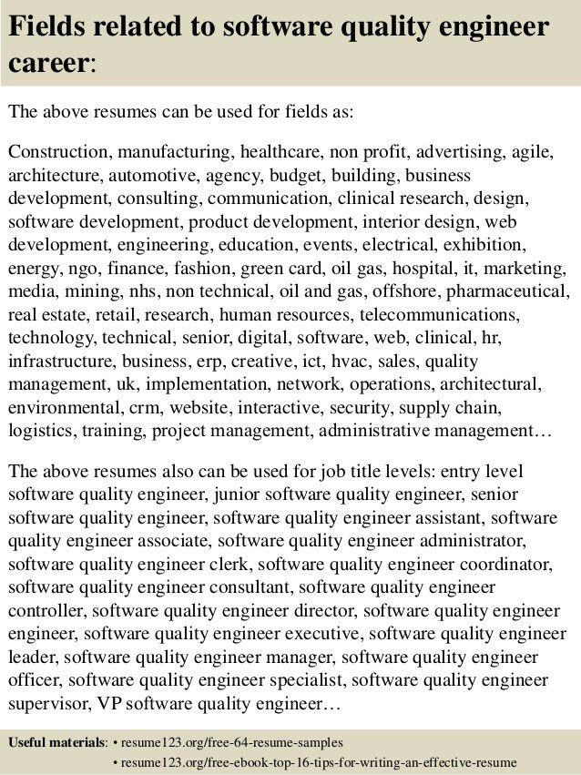 Top 8 software quality engineer resume samples
