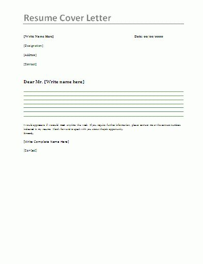 Resume Cover Letter Templates - My Document Blog