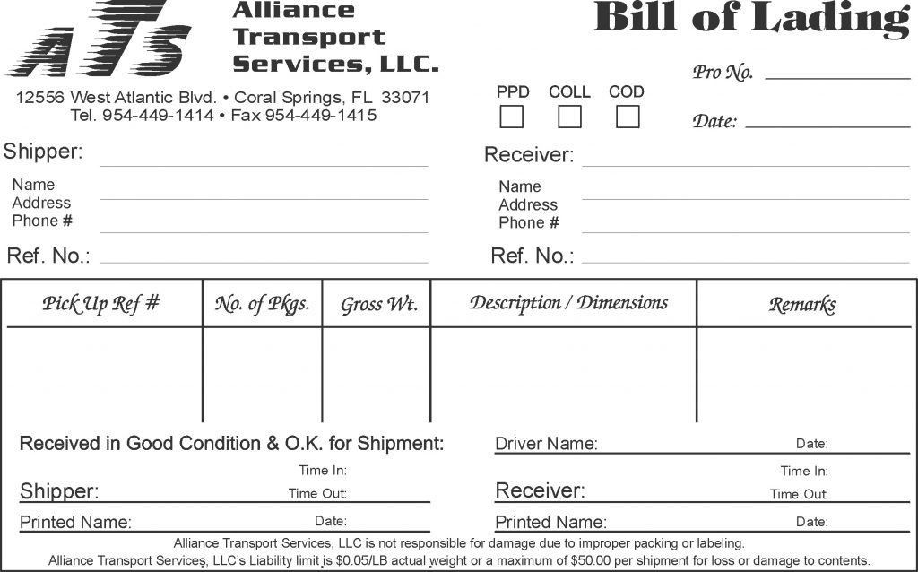 Bill Of Lading Template Microsoft Word Free Sample Resume For Word ...