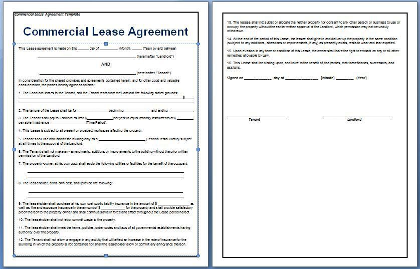 10 Best Images of Commercial Lease Agreement Template - Free ...