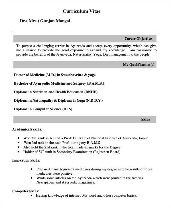 Fresher Doctor Resume - 3+ Free Word, PDF Documents Download ...