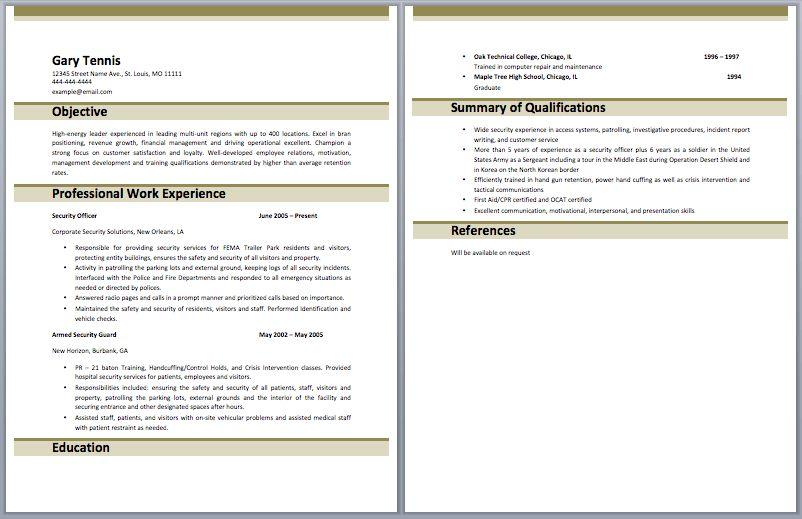 free nurse resume templateguard resume security guard resumes ...