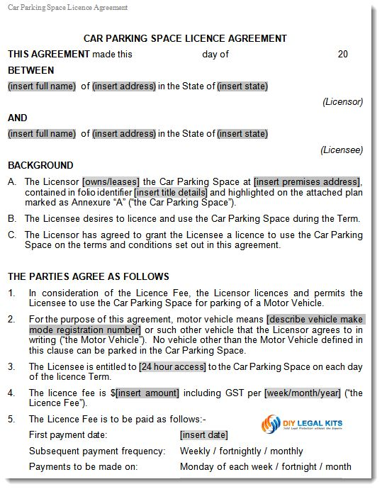 Car Parking Space Licence Lease Agreement