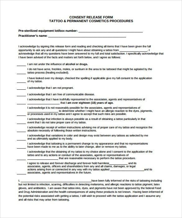 Tattoo Release Form - 9+ Download Free Documents in PDF