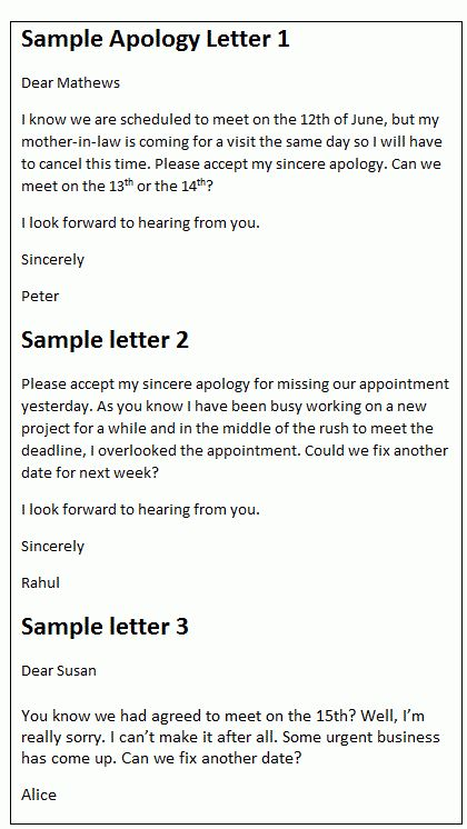 Apology letter sample | Apologize for missing an appointment