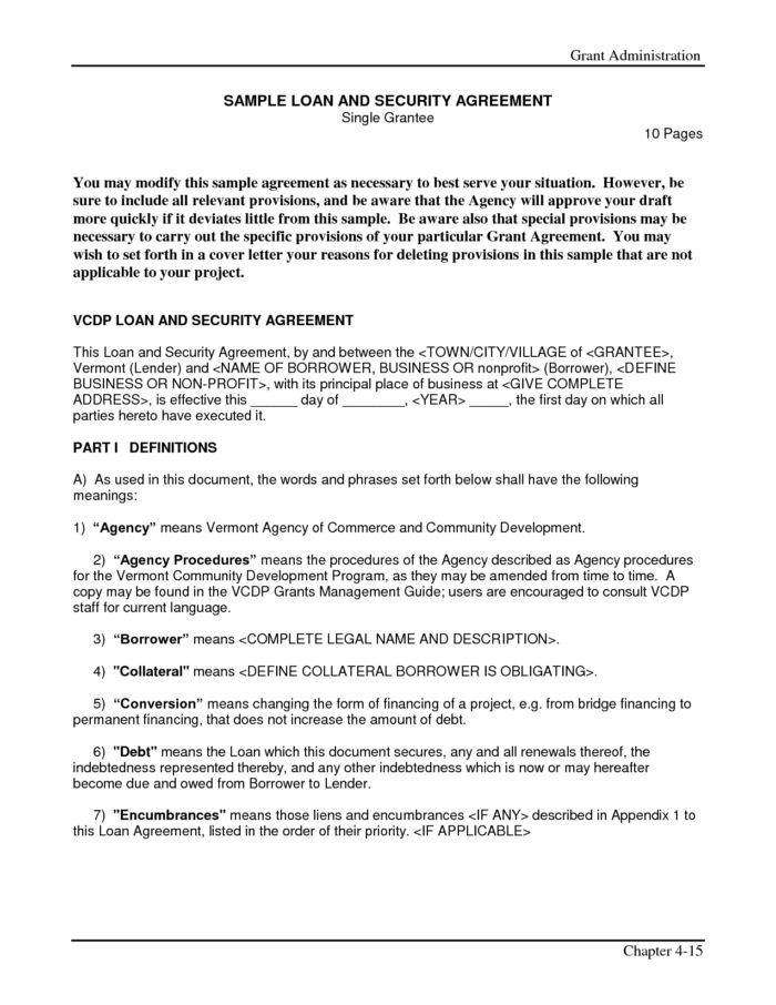 Loan Contract And Security Agreement Letter Sample : Vatansun