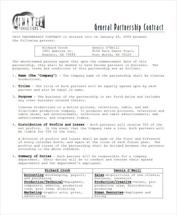 9+ Partnership Contract Templates - Word, PDF | Free & Premium ...