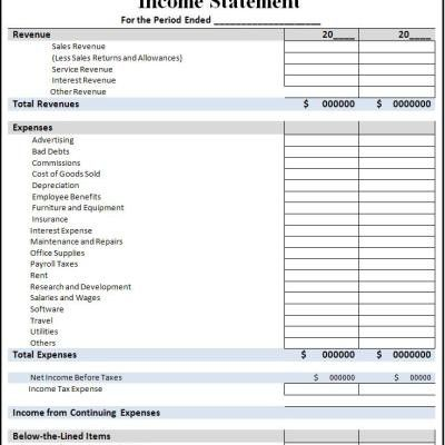 INCOME STATEMENT TEMPLATE | maps map cv text biography template ...