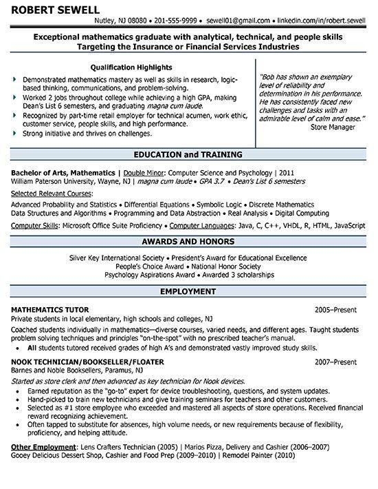 Résumé Samples - Jane Falter