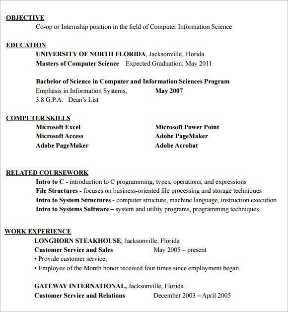 Internship Resume – 9+ Free Samples , Examples , Format