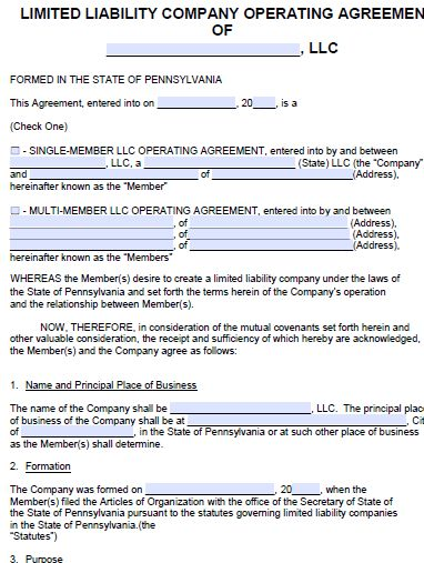 Free Pennsylvania LLC Operating Agreement Template | PDF | Word |