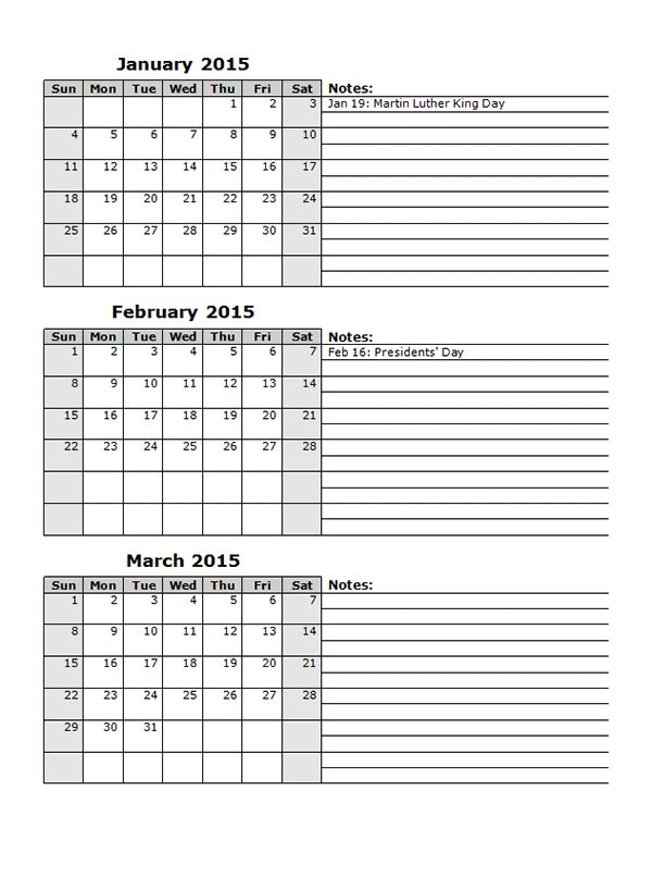 2015 Monthly Calendar Template 15 - Free Printable Templates