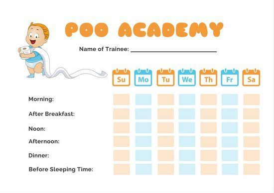 Orange and Blue Calendar Potty Training Reward Chart - Templates ...