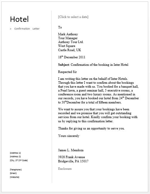 Sample Confirmation Letter – Free Sample Letters