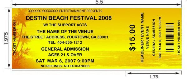 Beach theme tickets. Design and print your own custom tickets with ...