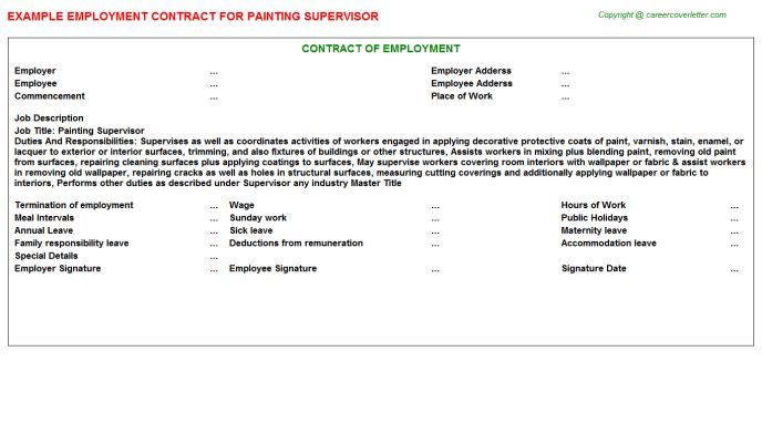 Painting Supervisor Employment Contract