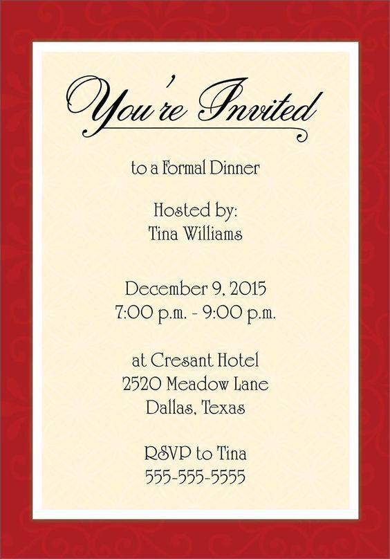 Dinner Invitation Email Template | cimvitation