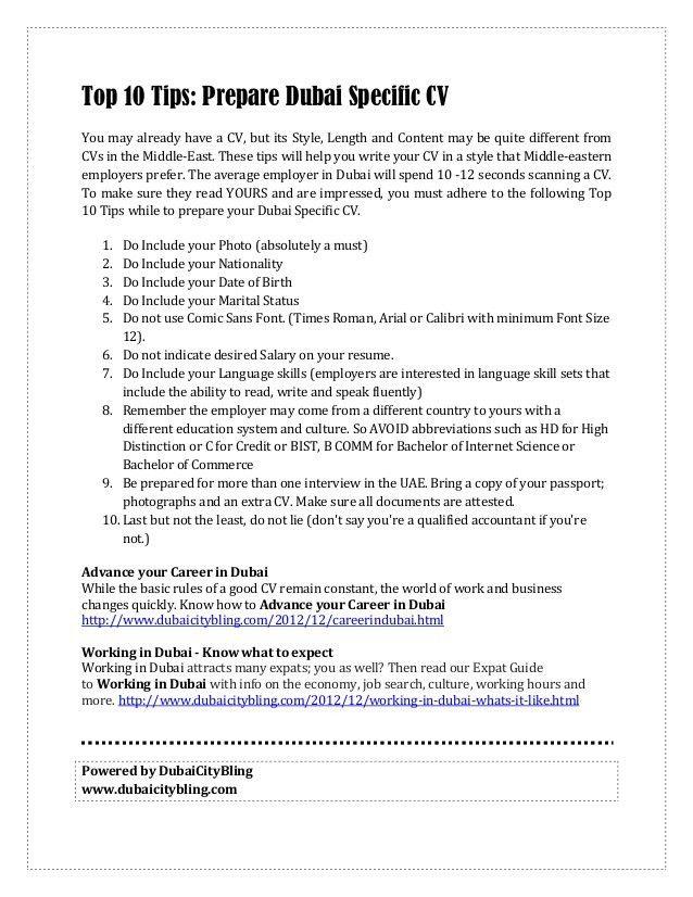 Tips to Prepare Dubai Specific CV