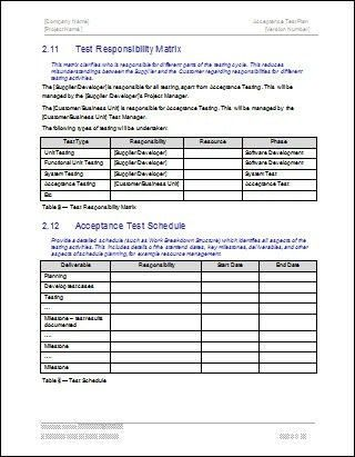 Test Responsibility Matrix, Acceptance Test Plan Template | Flickr