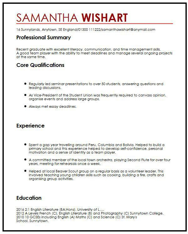 CV Sample With No Job Experience| MyperfectCV