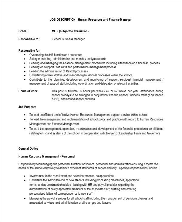 Sample Financial Manager Job Description - 10+ Examples in PDF, Word