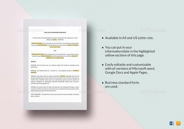 Partnership Agreement Template -11+ Free Word, PDF Document ...