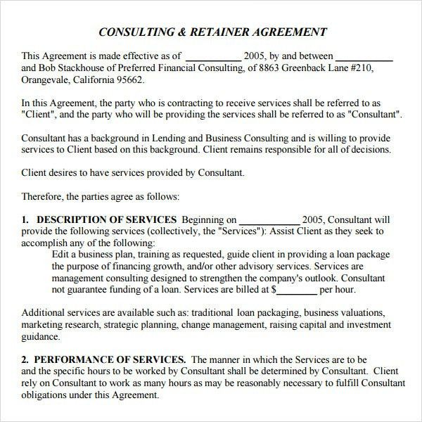 Marketing Agreement Template. Sample Retainer Letter | Docoments ...