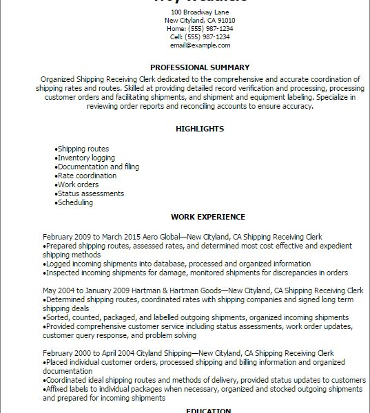 Smartness Inspiration Shipping And Receiving Resume 2 Professional ...