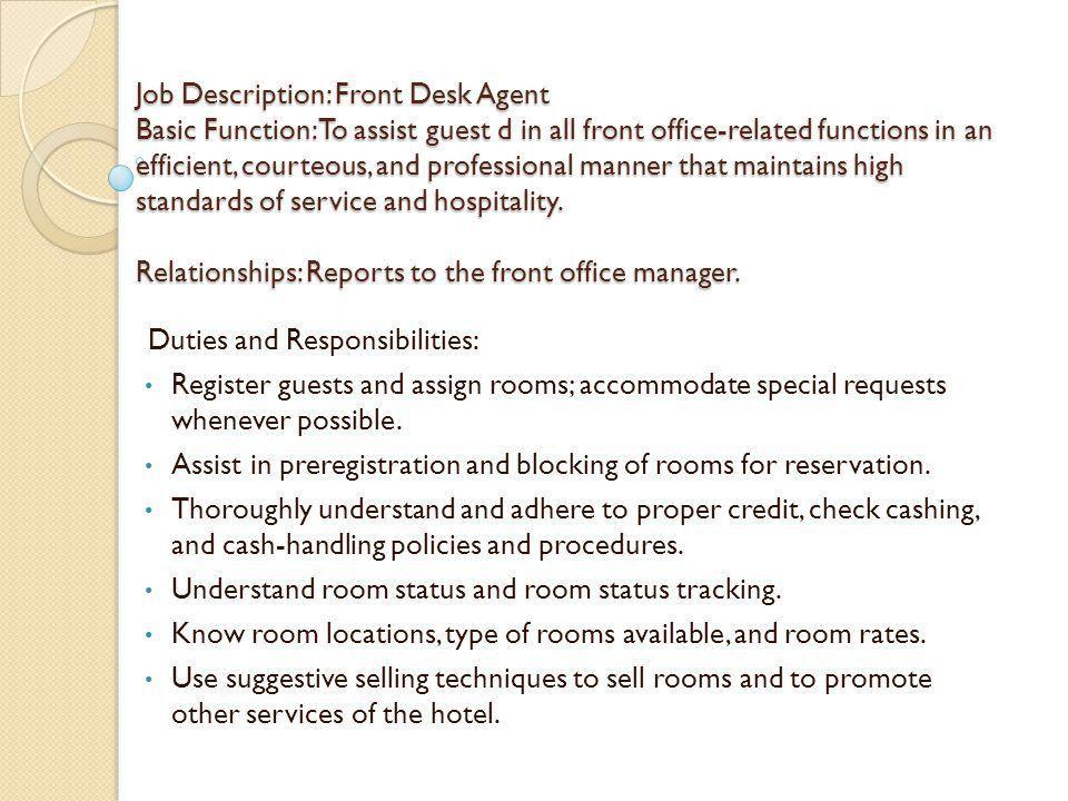 Front Desk Job Description. Image Gallery Of Nice Design Ideas ...