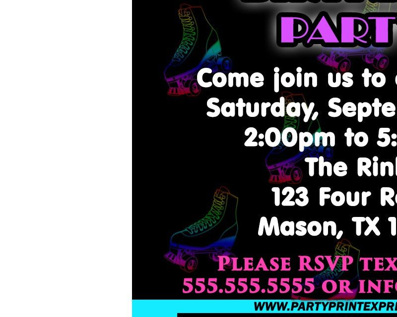Neon Blue Roller Skating Party Ticket Invitations — Party Print ...