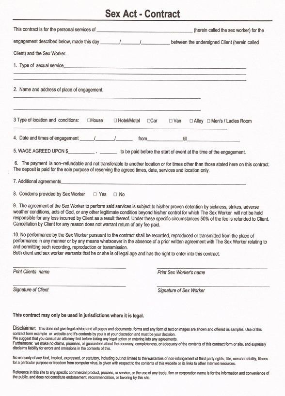 Free and Printable Sex and Prostitution Contract Form - RC123.com