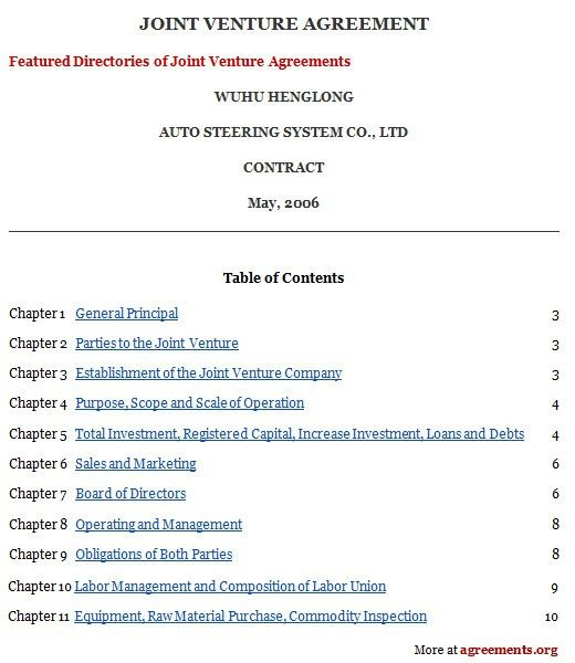 Joint Venture Agreement, Sample Joint Venture Agreement Template ...