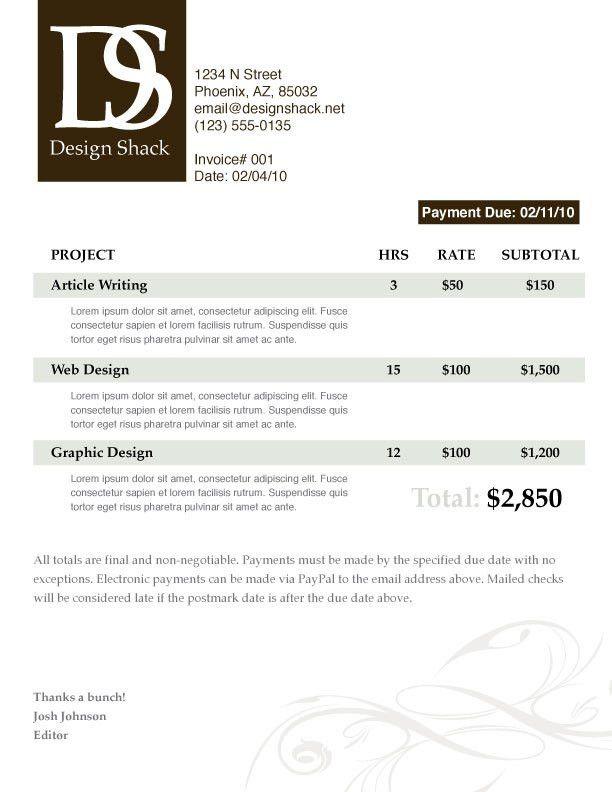 website invoice template